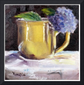 print yellow cup with hydrangea