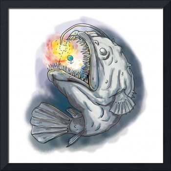 Anglerfish Swooping up Solar System Lure Watercolo