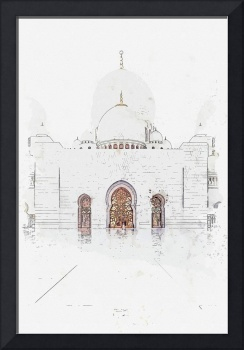 Mosque in Hyderabad, Pakistan  c2019, watercolor b