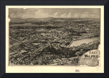 1898 East Walpole, MA Panoramic Map