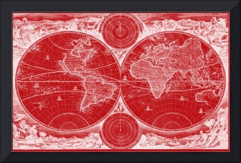 World Map (1730) Red & White