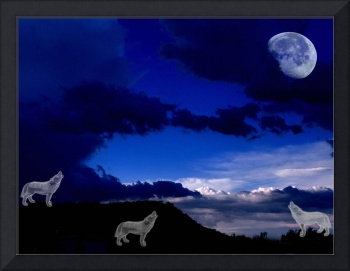 Ghost Wolves Howling at the Moon