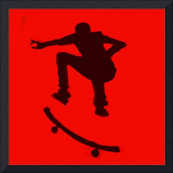 Skateboarder 2 .  red black (c)