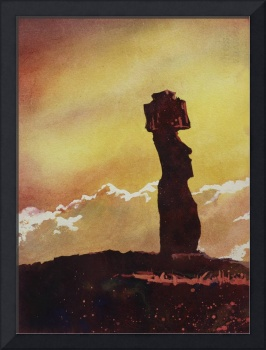 Easter Island watercolor painting- Moai statue