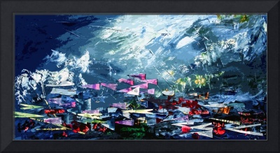 Abstract Schools of Fish Mixed Media by Ginette