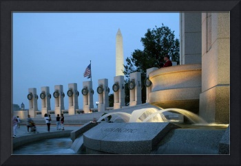 World War II Memorial with Washington monument at