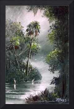 Egrets Along The Misty River