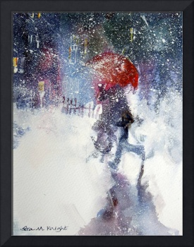 Snow Storm - Red Umbrella In Winter Blizzard