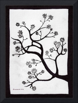 Zen Sumi Bush Black Ink on White Canvas