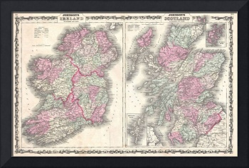 Vintage Map of Ireland and Scotland (1862)
