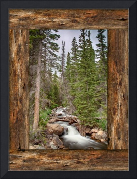Mountain Stream Rustic Cabin Window View
