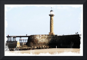 Digital Watercolor of Whitby's Pier England
