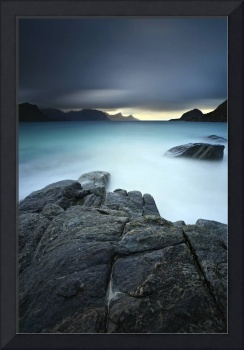 A long exposure scene at Haukland Beach in Lofoten
