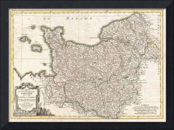 Vintage Map of Normandy France (1771)