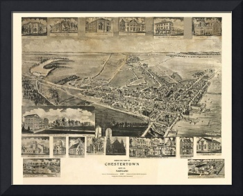 1907 Chestertown, MD Bird's Eye View Panoramic Map