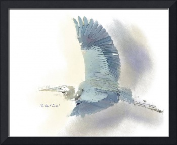 Blue Heron in Watercolor