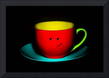 Funny Wall Art - Bashful Colourful Teacup
