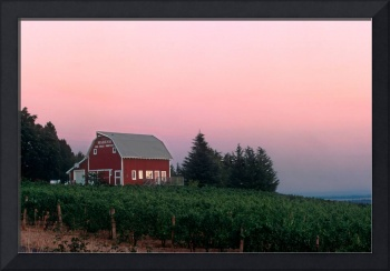 Red Barn, Pink Sunset