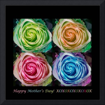 Happy Mothers Day Hugs Kisses and Colorful Rose Sp