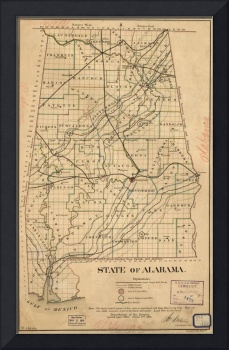 Vintage Map of Alabama (1866)