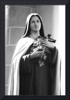 Mary Statue with Crucifix and Roses - BW