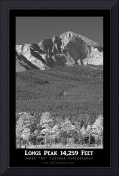 Longs Peak View Black and White Poster