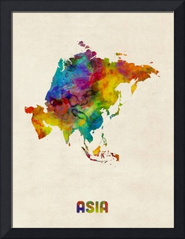 Asia Continent Watercolor Map