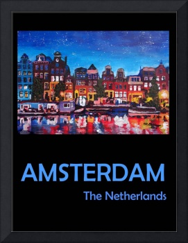Retro Travel Poster Amsterdam Netherlands