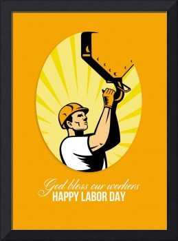 Happy Labor Day Retro Poster Greeting Card