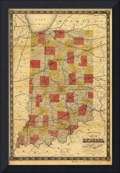 Map of Indiana showing Railroads and Townships (18