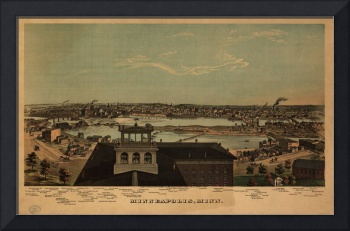 1874 Minneapolis, MN Birds Eye View Panoramic Map