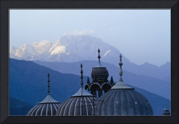 Domes Of Chitral Mosque With Trich Mir Mountain Pe