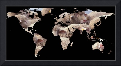World Map Silhouette - Sheep Herd
