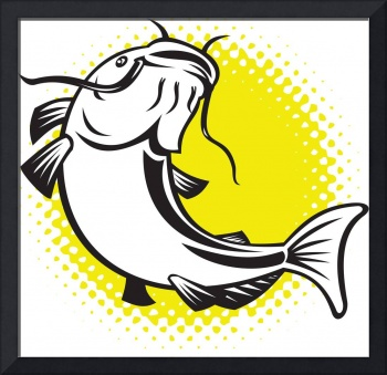 Catfish jumping up with halftone dots