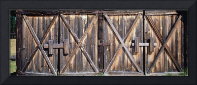 Closed doors of a barn