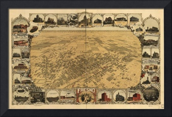 1901 Fresno, CA Birds Eye View Panoramic Map