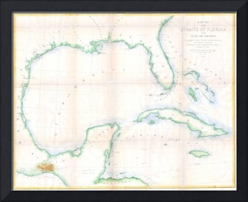 Vintage Map of The Gulf of Mexico (1852)