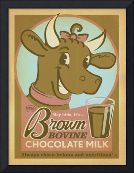 Brown Bovine Chocolate Milk - Retro Poster