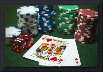 Stacks Poker chips pair dice playing cards face up
