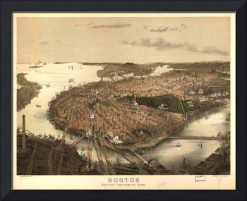 1877 Boston, MA Bird's Eye View Panoramic Map