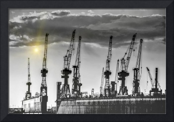 Port cranes in hamburg