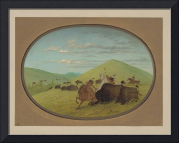 George Catlin~Buffalo Chase - Bulls Protecting the