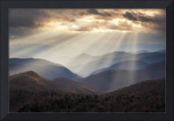 Crepuscular Light Rays on Blue Ridge Parkway - Ray