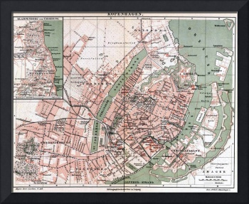 Vintage Map of Copenhagen Denmark (1888)