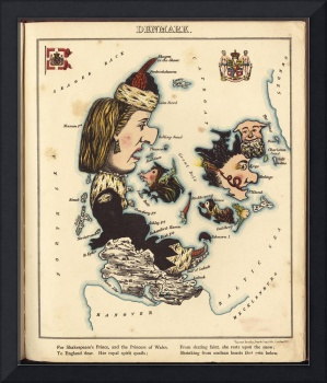 Vintage Map of Denmark with Illustrations (1868)