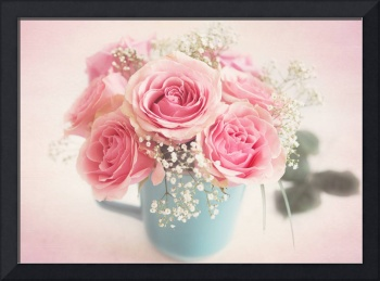 Beautiful soft pink roses in full bloom