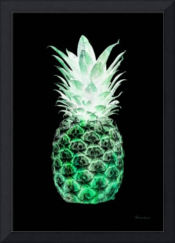 14K Artistic Glowing Pineapple Digital Art Green