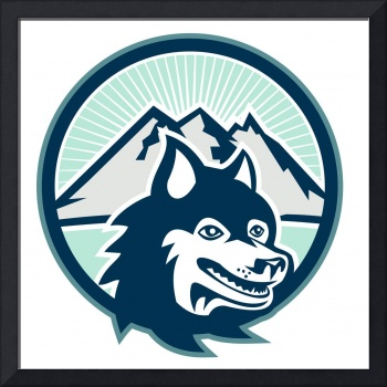 Siberian Husky Dog Head Mountain Retro