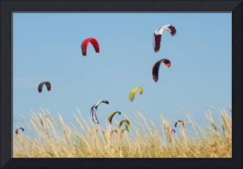 Kites Of Kite Surfers In Front Of Hotel Dos Mares,