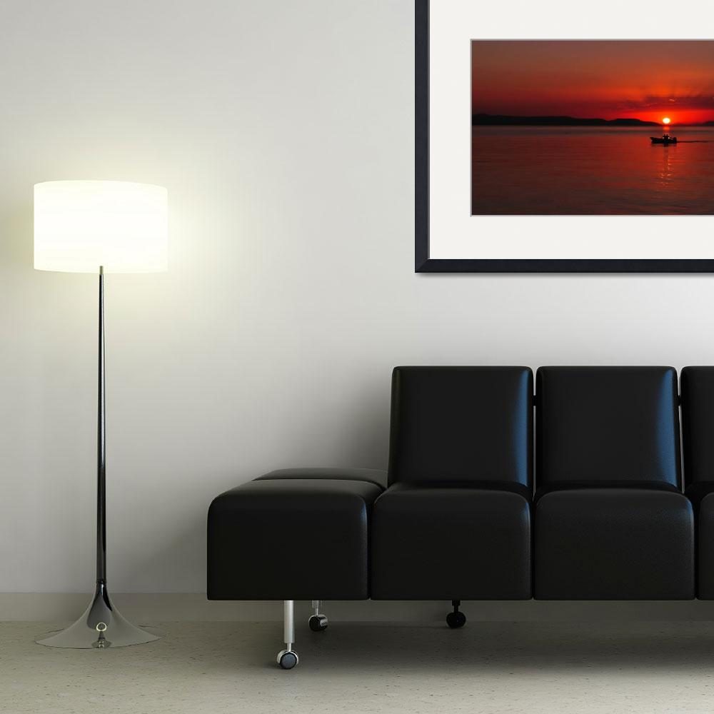 """""""Silhouette of people in boat on sea at sunset""""  (2012) by creative_photography"""